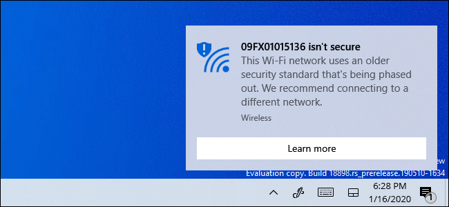 Why is Windows 10 saying your WiFi is not secure?